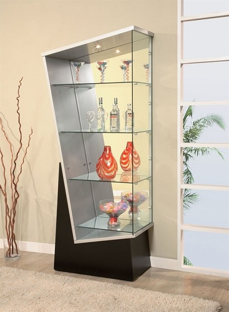 Geometric Shaped Display Case by Global USA, modern Curio Cabinet, Glass Curio, Unique Curio Cabinet