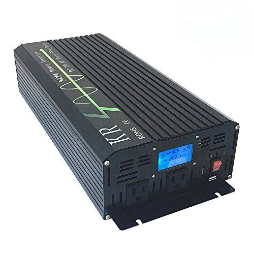 KRXNY Full 2000W Peak 4000W Off Grid Pure Sine Wave 12V DC to 120V AC 60HZ Power Inverter Converter for Home Car Use with LCD Display USB Port #KRXNY #Full #Peak #Grid #Pure #Sine #Wave #Power #Inverter #Converter #Home #with #Display #Port