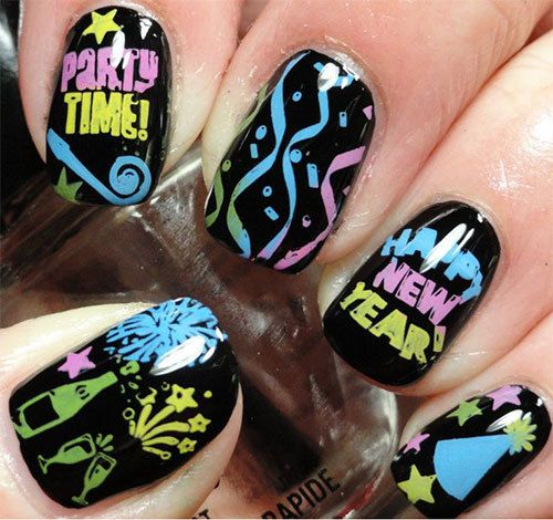 56 best new years eve nail art inspiration images on pinterest happy new year eve nail art designs prinsesfo Images
