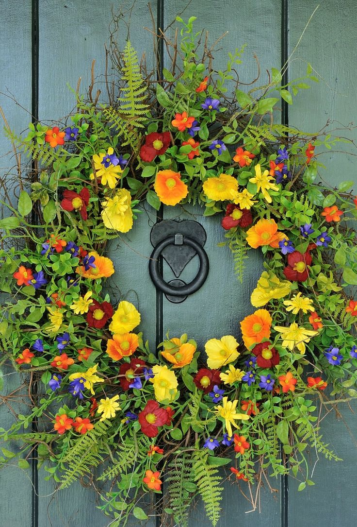 ~~Summer Sizzle Wildflower Wreath | an eye catching wreath provides a warm spring and summer welcome to all who enter your home! Created with a profusion of wildflowers in tones of deep red, buttercup yellow, sunset orange and indigo. Lush spring ferns and foliage provide the perfect finishing touch | Willowgale Designs~~