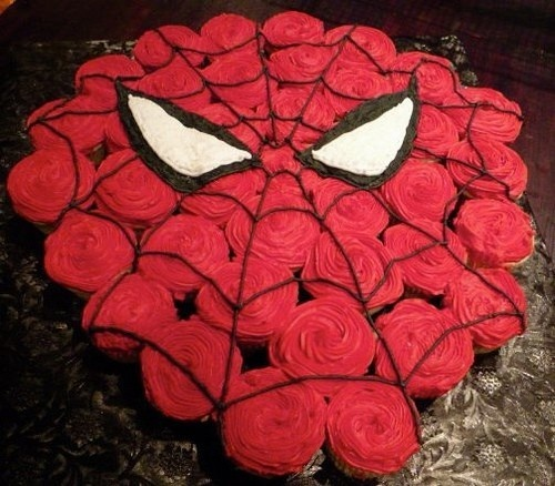 spiderman cupcake cake birthday-party-ideas