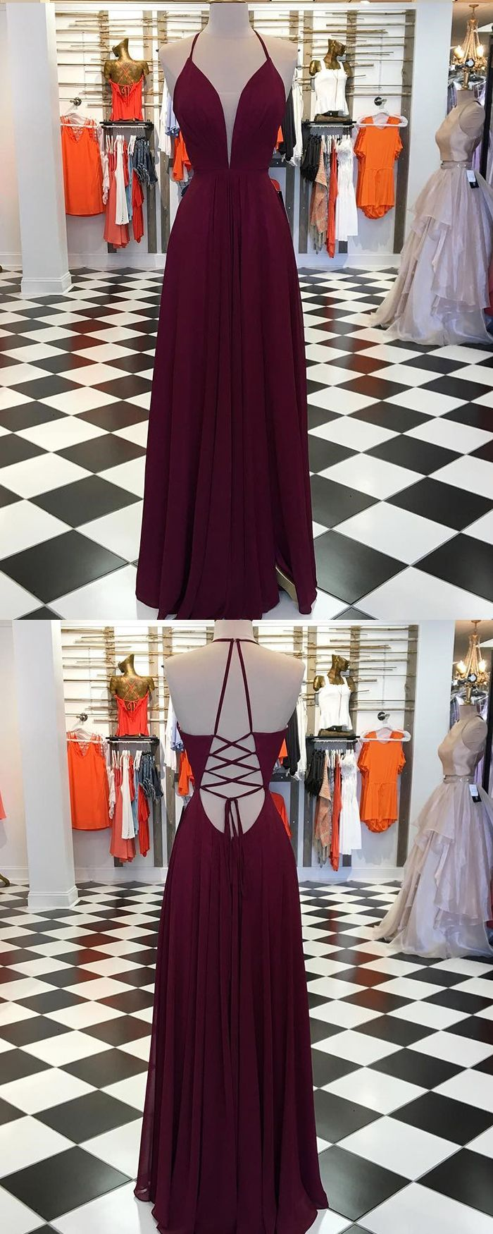 61ea9b5f887 Simple Spaghetti Straps Burgundy Pleated Prom Dress with Side Slit ...