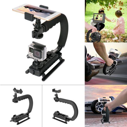 Fantaseal® 4-in-1 Smartphone + Action Camera + Camcorder+ DSLR Camera Stabilizer C-Shape Camera Rig Support Low Position Shooting System for GoPro Stabilizer GoPro Holder Support Stand Mount GoPro Hero 5 / 4 /3+/3/ Session / SJCAM SJ4000 / SONY HDR AS-10 AS-15 AS-20 AS-30 AS-50 AS-100 AS-200 AZ-1 FDR-X1000VR / Garmin Virb XE / Xiaomi Yi / DBPOWER QUMOX + Nikon Canon Sony Pentax Olympus Panasonics Lumix Ricoh Kodak Casio + iPhone Samsung Smartphone (include iPhone 7 Plus / 7 )
