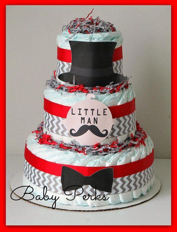 5 Color Designs - Little Man Diaper Cake, Mustache Baby Shower , Mustache Party , Baby Shower Decorations