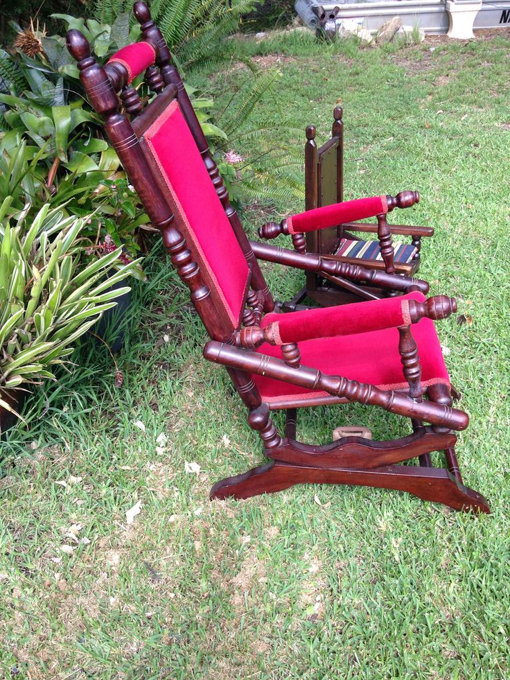 A personal favourite from my Etsy shop https://www.etsy.com/au/listing/526361311/1930s-wooden-rocking-chair-red-velvet