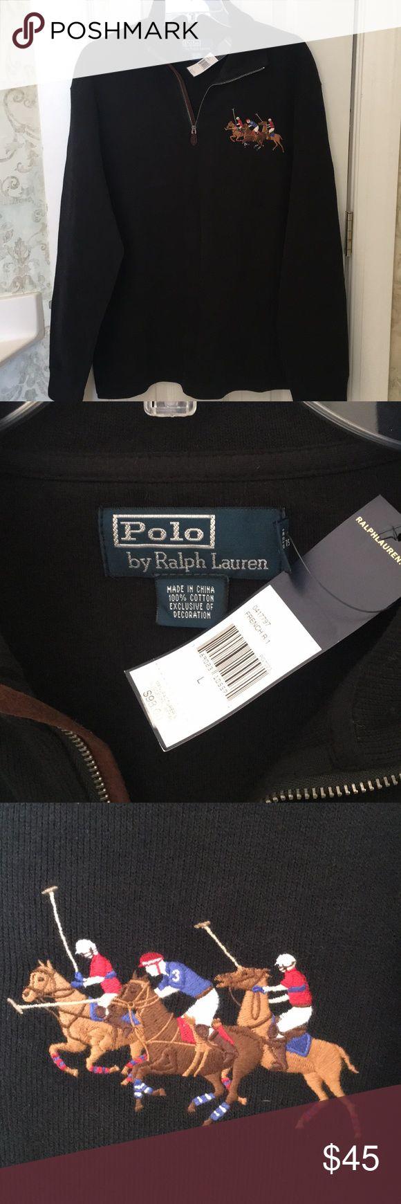 NWT Polo Ralph Lauren Black Hale Zip Knit Pullover NWT Polo Ralph Lauren Black Hale Zip Knit Pullover/Excellent Condition/Size Large Polo by Ralph Lauren Shirts Polos