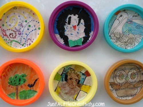 Play Dough Lid as art frames....Magnets! I am thinking peanut butter and frosting lids could work too!