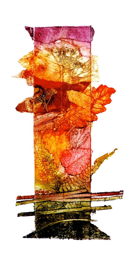 Autumn Walks is a collagraph , made from assembled materials found during my walks in the New Forest. It is a vibrant sun filled collection of Autumn leaves and forest shapes , these are fixed to a base plate or board and when the image is complete the collaged and cut plate is fixed with varnish,. A small edition of 20 unique hand pulled prints are made and printed in Intaglio inks onto Bockingford water colour paper ,Th e image is irregular in shape and measures approx 12inches by 6 inches…