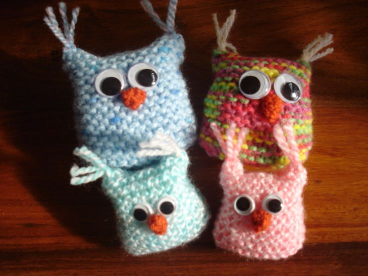 My hand knitted family of owls. All available to buy from barginspls on EBay