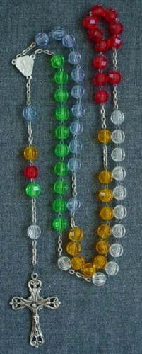 Vintage 70's Coloured Faceted Plastic Beads Rosary | eBay