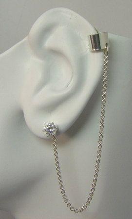 MINI Ear Cuff BAJORAN Body Jewelry No Piercing Cuff Fake piercing Chain Earring Sterling Silver Cart
