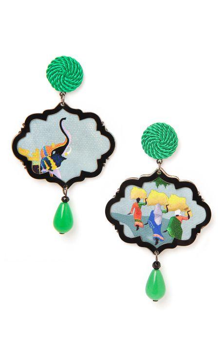 The Passeggiata, Marco Polo Earrings by Anna E Alex - Moda Operandi