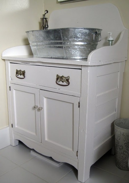 Metal tub as sink?? I love this sink and vanity combo... Bathroom ...