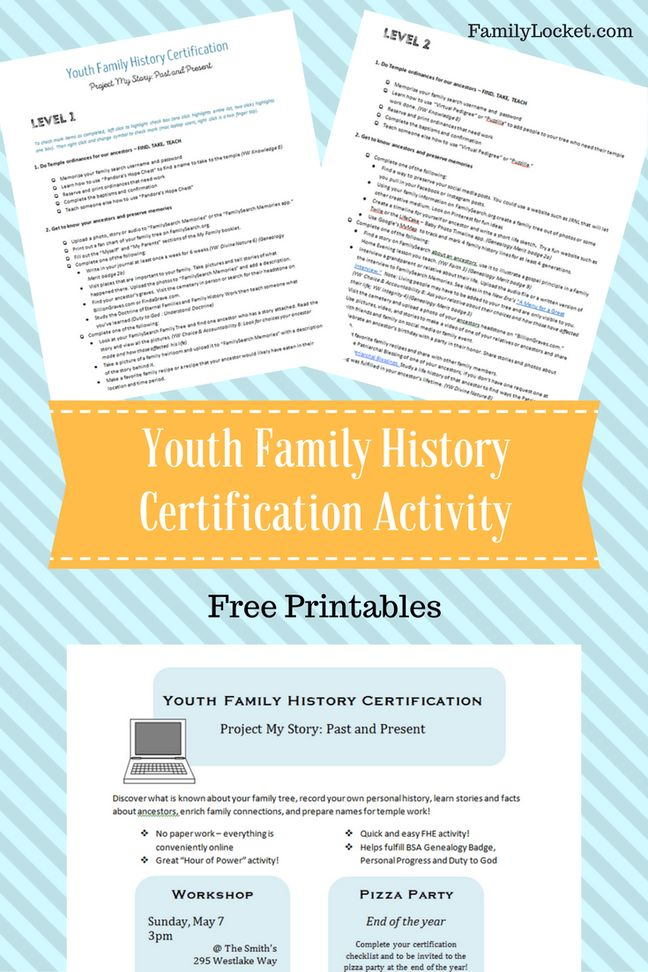 """Youth Family History Certification Activity: """"Project My Story: Past and Present"""" – Family Locket"""