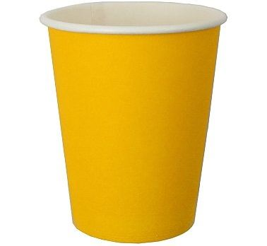Kubeczki papierowe w kolorze żółtym.  Idealne do dekoracji na przyjęcie urodzinowe.