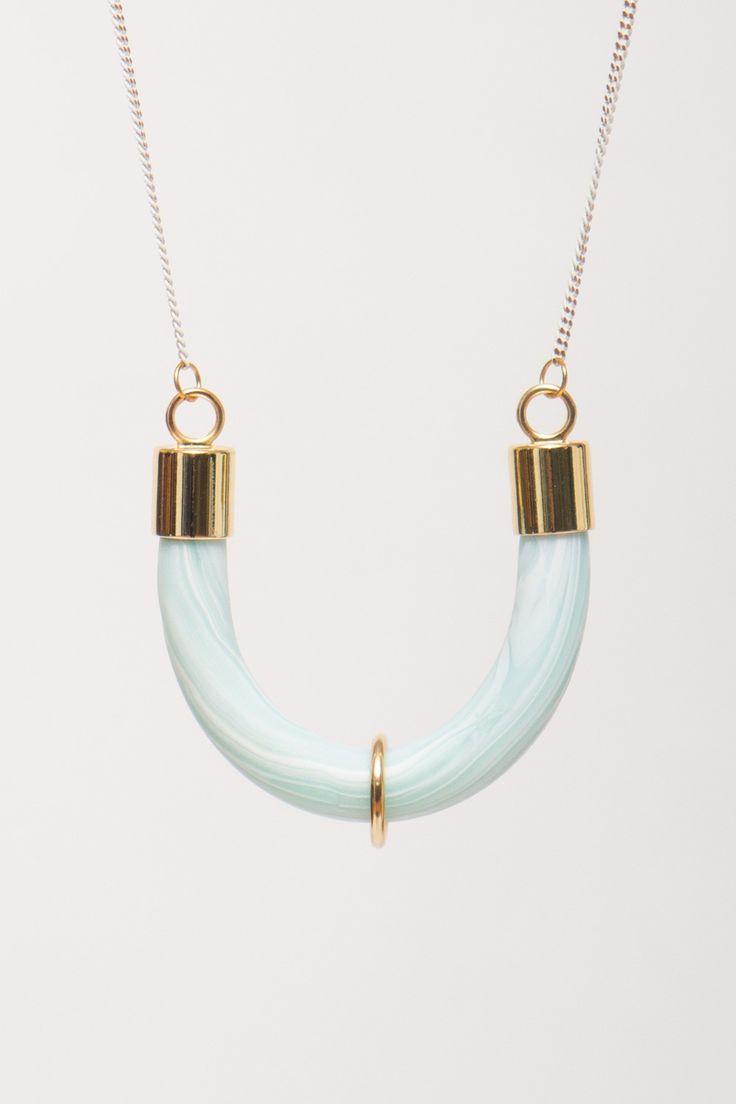 BALILLA - WHITE/MINT SEMI-CIRCLE MARBLE EFFECT NECKLACE #balilla #necklace #marble #effect