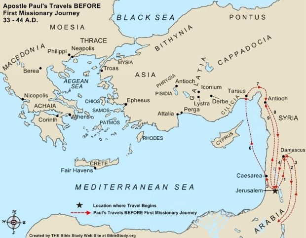 Paul's Journeys After Conversion Large Map