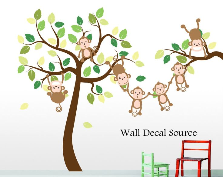 Monkey Tree Decal - Jungle Tree Decal - Monkey Wall Decal by WallDecalSource on Etsy https://www.etsy.com/listing/152734586/monkey-tree-decal-jungle-tree-decal