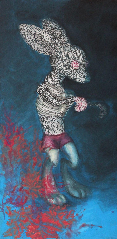 """Anger and fear"" - Acrylic on canvas - rabbit art"