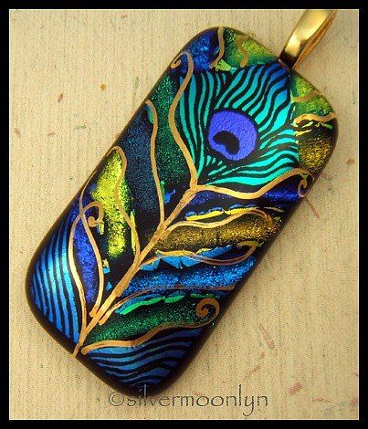 peacock feather ~ glossy and engraved dichroic glass, hand painted 22kt gold by Lyn Owen