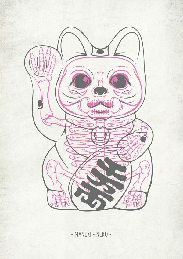 Maneki-Neko® Skull by SOUP , via Behance