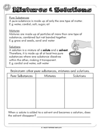 Mixtures Solutions Dms Science Worksheets Separating