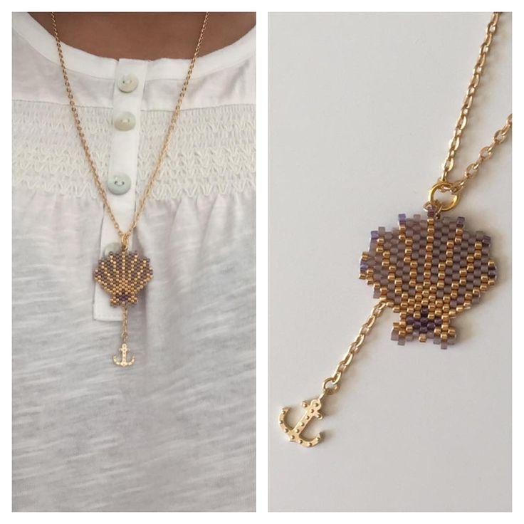 Et op le ptit' collier fin de vacances d'été ⚓️ #brickstitch #coquillage #miyuki