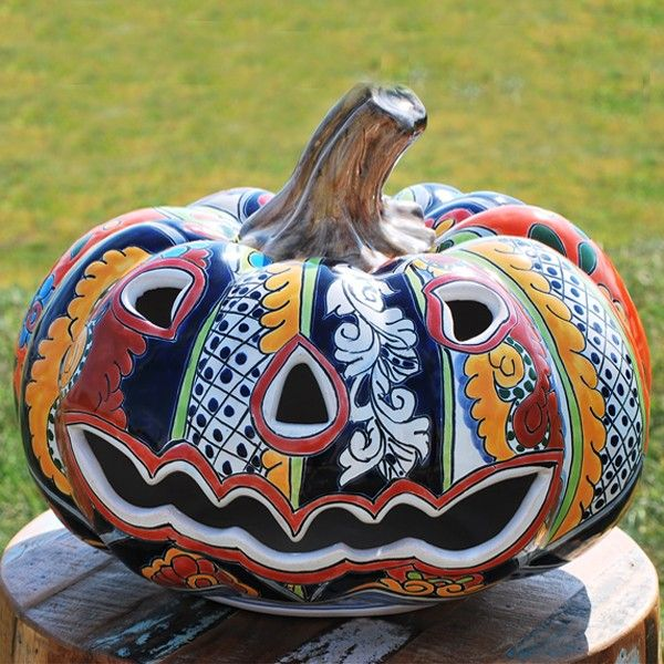 Talavera Mexican Pottery Pumpkin Candle Holder | Tiki Torches & Outdoor Patio Torches