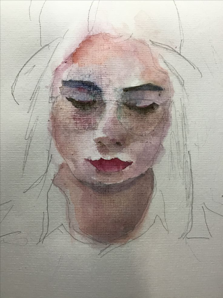 Sketching the gougeous Valentina. Watercolor.