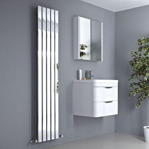 Milano Alpha - Chrome Vertical Slim Panel Designer Radiator 1800mm x 375mm - http://www.bestheating.com/milano-alpha-chrome-vertical-slim-panel-designer-radiator-1800mm-x-375mm.html