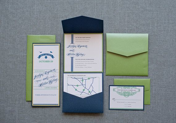 @lynda.com Feigenbaum Navy and Green Pocket  Wedding Invitation Suite  by LamaWorks, $8.05