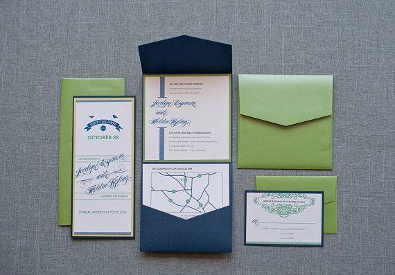 @Lynda Feigenbaum Navy and Green Pocket  Wedding Invitation Suite  by LamaWorks, $8.05