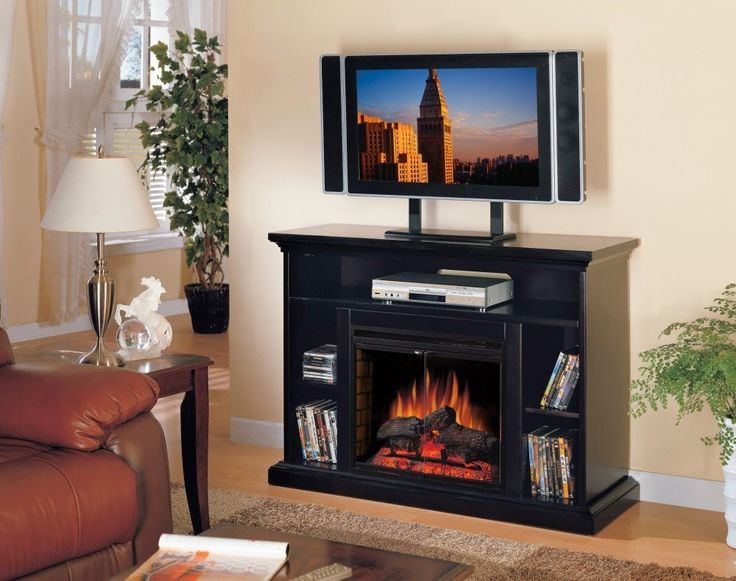 Neutral Cream Living Room Color Shows Black Electric Fireplace With Storage Set Under Tv Stand Design