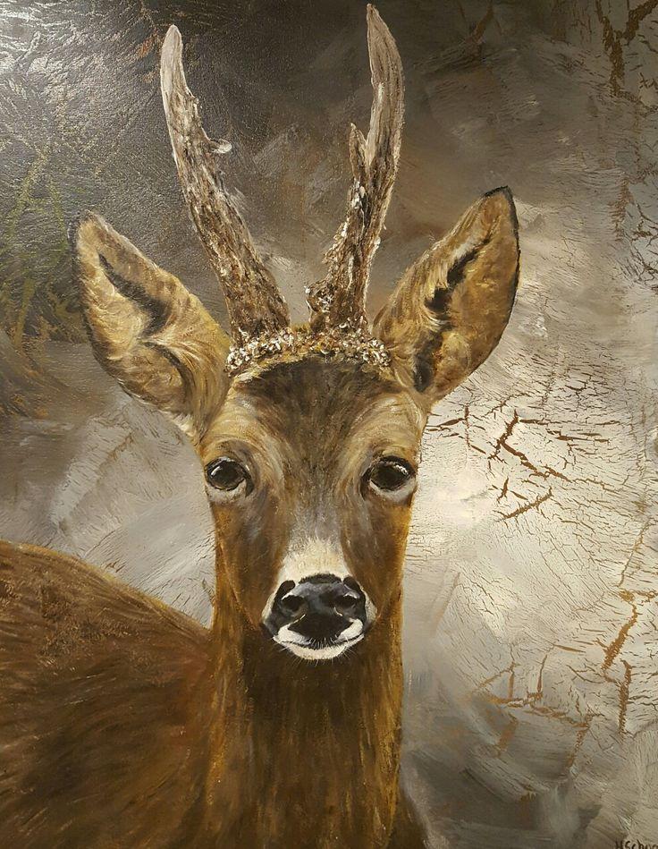 Landelijke stijl schilderij 'Reebok' 50x60cm acrylverf  www.schilderijenbydini.com