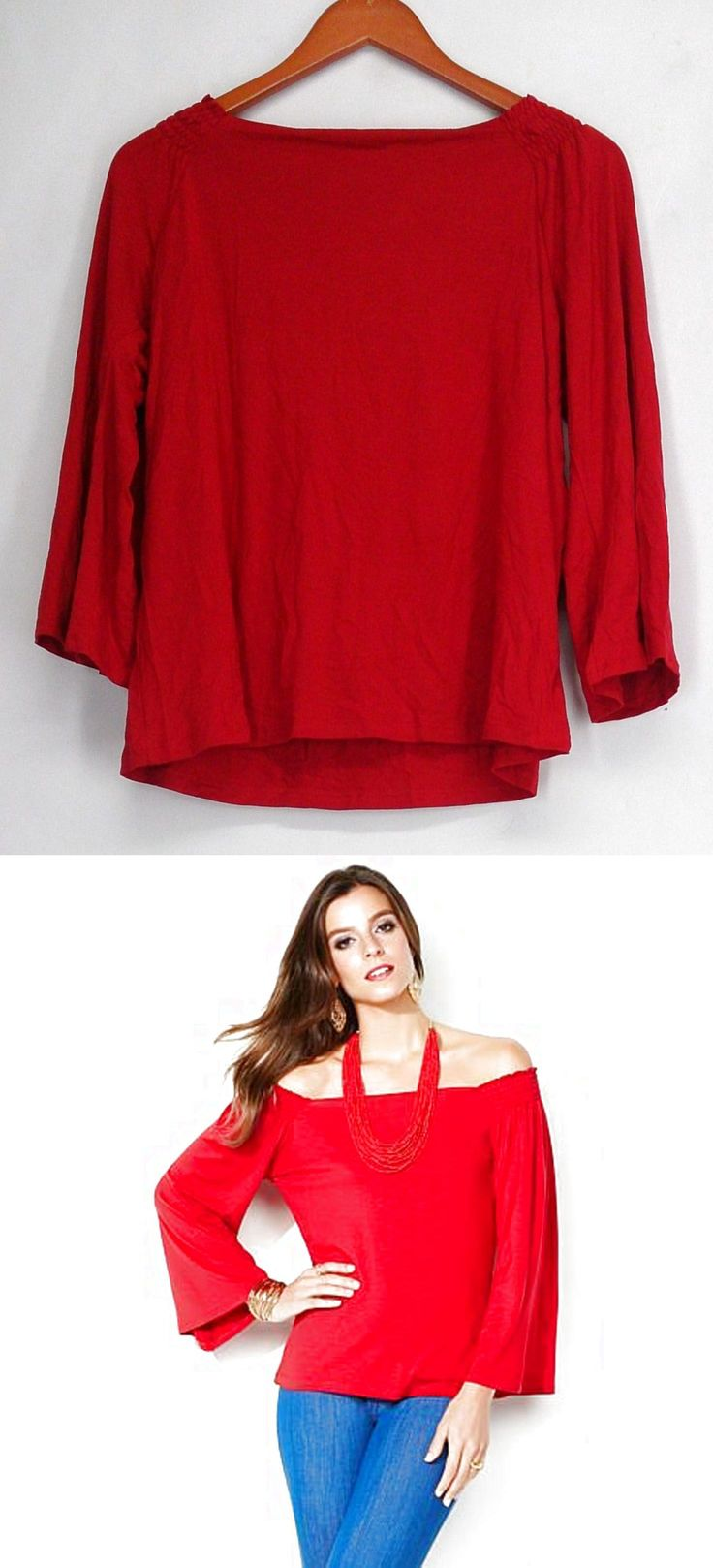 Iman Top M Smocked Bell Sleeve Jersey Knit Convertible Top Red NEW $3.99
