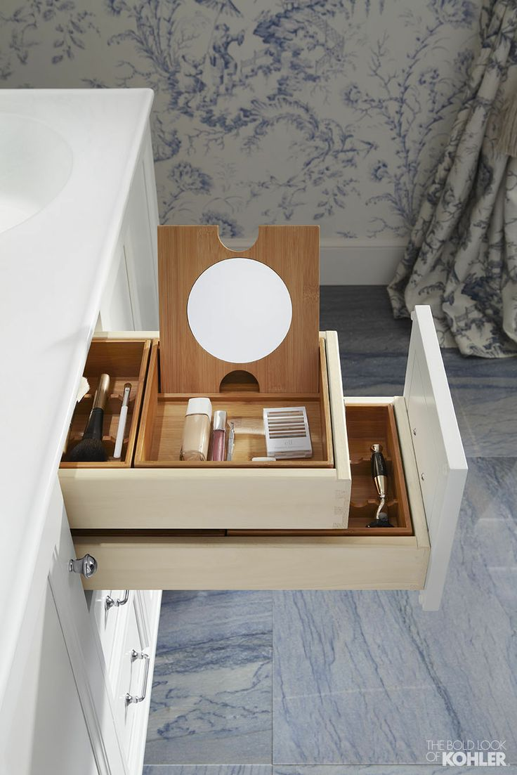 Pictures In Gallery Smart makeup storage solution featuring the Kohler Damask vanity