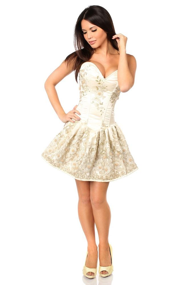 Sexy Elegant Satin Ivory Floral Embroidered Steel Boned Short Corset Dress #daisy #Corset