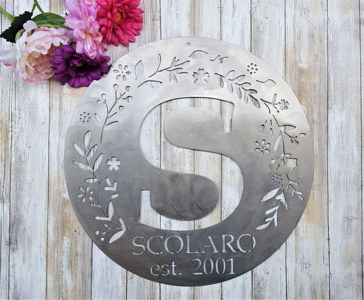 Monogram wedding gift anniversary letter indoor outdoor decor wall hanging sign last name family establish yard garden farmhouse front door by KindredMetalDesign on Etsy