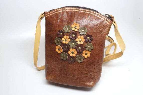 Mini leather cross body bag, Mini leather satchel with flower, Leather shoulder bag, women shoulder bag,small leather bag, boho leather bag