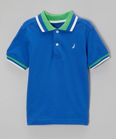 Another great find on #zulily! Cobalt & Green Stripe Polo - Boys by Nautica #zulilyfinds