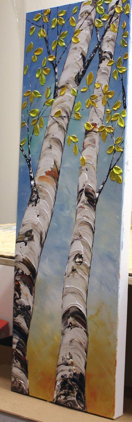 Birch trees with texture painting. Abedul árbol pintura tríptico pared Arte Original por NataSgallery