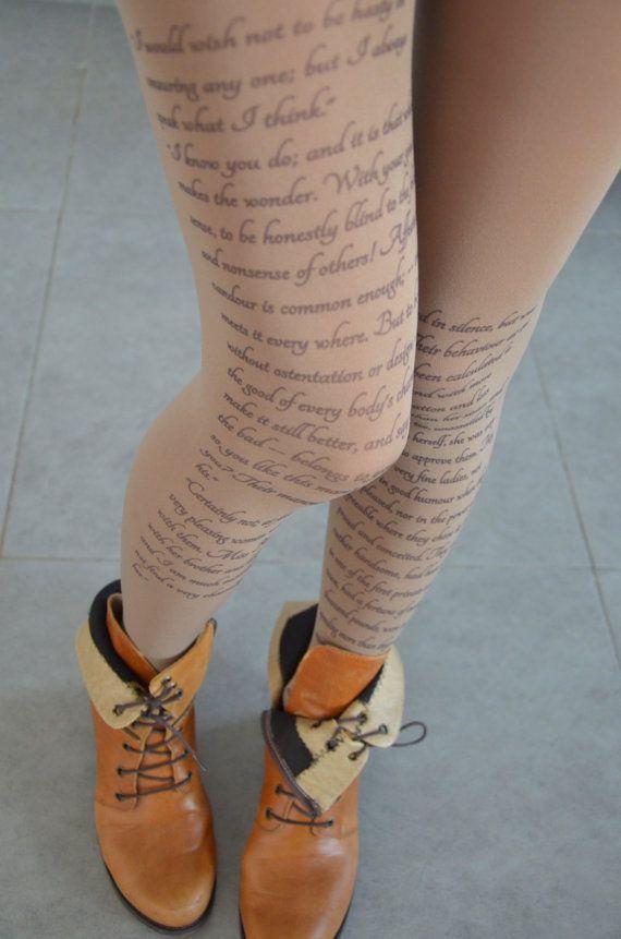 Jane Austen Tights , Pride and Prejudice  , Poetry  Tights , Text tights , Poem Pantyhose