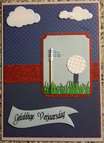 002_A5_3D_Golfball, Flag with Grass and Clouds and Sentiment. Handmade by Diane Prinsloo (Lubbe).