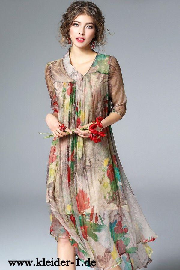 Elegantes Seide Sommerkleid mit Blumen
