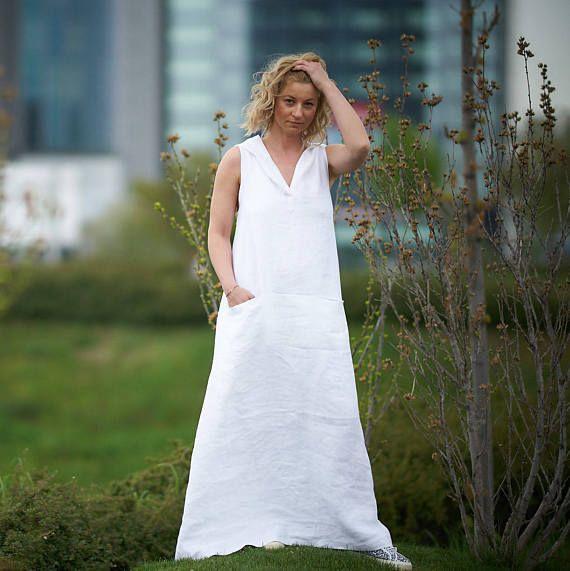DressMaxi Size Plus White Hooded Linen kw08nPO