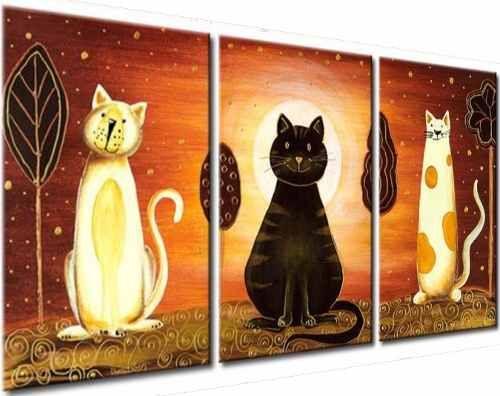 Cuadros tripticos gatos infantiles living dormitorio deco - Cuadros decorativos para cocina abstractos modernos ...
