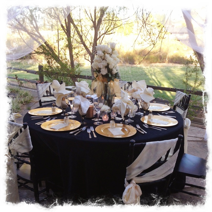Black gold ivory anniversary party table setting decorations pinterest black gold - Black and gold wedding reception decorations ...