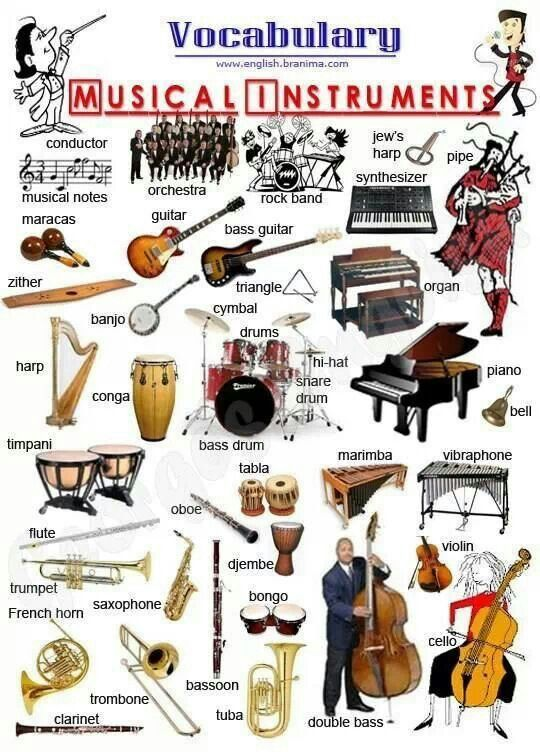 Musical instruments #Aprender #inglés #vocabulario More