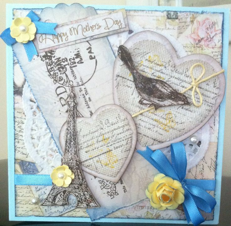 Inspired by Suzz's Stamping Spot on Pinterest. Canvass hearts, Kaszazz French Flair, Postcard Heading, Esprit Verveine and Vintage Bird stamps. Kaisercraft background paper.