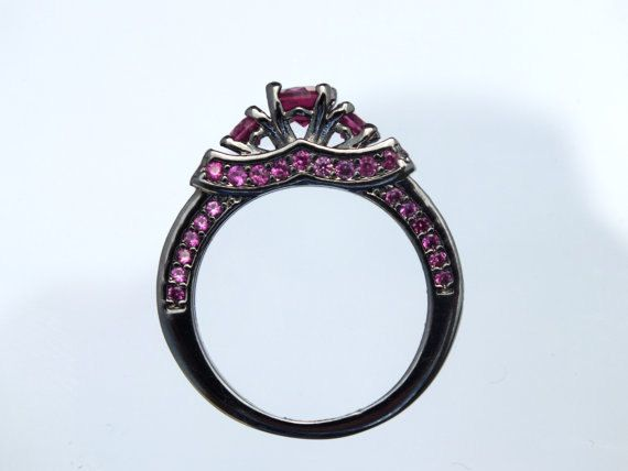 Black Gold Maleficent Movie Inspired Ring Ruby Accent by AOSDESIGN